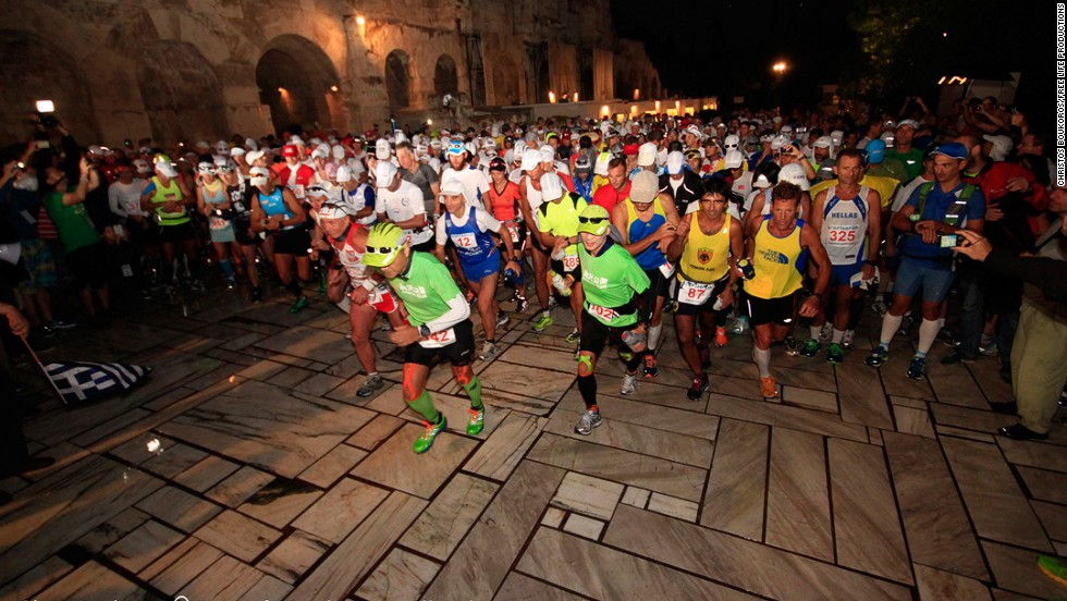 Around 350 brave souls attempted the feat of endurance last weekend running the 246-kilometer (152-mile) route. The race revives the legendary feat of Pheidippides who is said to have run from Athens to Sparta in two days in 490BC. Entrants set off on their own historic journey just before sunrise beneath the Acropolis on Friday September 26.