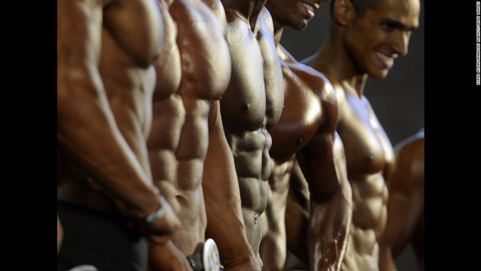 Bodybuilders show off their physiques at the Arnold Classic in Madrid on Friday, September 26.