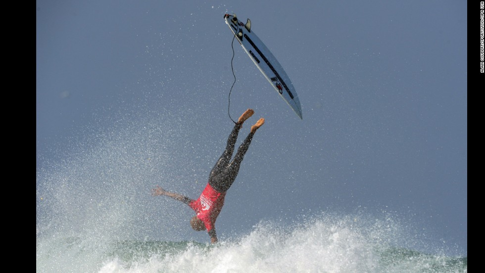 Professional surfer Kelly Slater wipes out Friday, September 26, while competing in the Quiksilver Pro France event.
