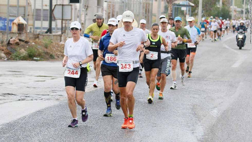 "Runners during the early stages of this year's epic run. Dimitris Troupis, a Greek endurance runner and editor of online magazine <a href=""http://www.advendure.com/"" target=""_blank"">""Advendure""</a> has covered the race for the past three years. ""This race is very special among the ultrarunning community worldwide,"" Troupis told CNN."