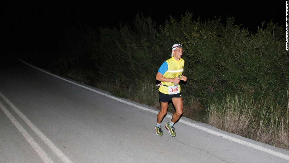 "As night falls the runners keep going.  ""There is also a lot of enthusiasm from the villagers en route,"" says Troupis. ""They are all out at 3-4 am in the morning trying to cheer on the runners."" This year, Troupis and his colleagues<a href=""https://twitter.com/Advendure_Net"" target=""_blank""> tweeted video and text updates</a> throughout the entire race.<br />"
