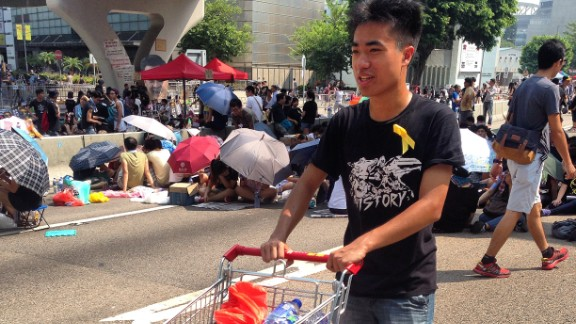Like the city in general, Hong Kong's protest sites are clean, orderly and well-run. Volunteers bring in supplies of food and drink to distribute freely, and keep the protest site clean by gathering rubbish in piles for recycling.
