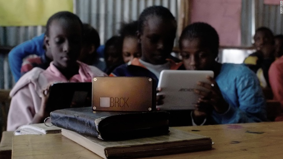 BRCK is a portable router that provides web access in disconnected areas. It seamlessly switches between ethernet, wi-fi and cellular networks to provide internet access for up to 20 devices. The router, which was developed by software engineers in Nairobi, Kenya, works for more than eight hours without electricity.
