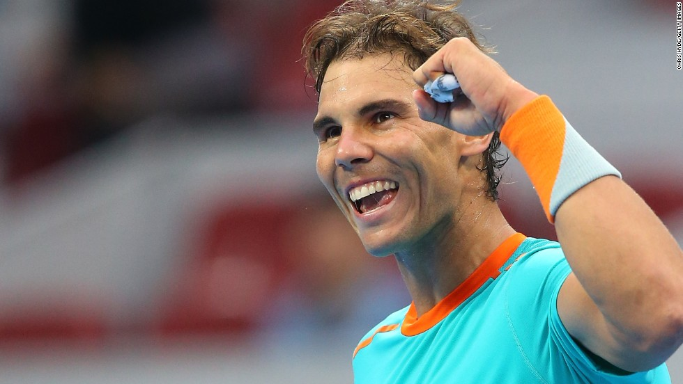 Rafael Nadal celebrates winning his match against Richard Gasquet after three months out with injury.