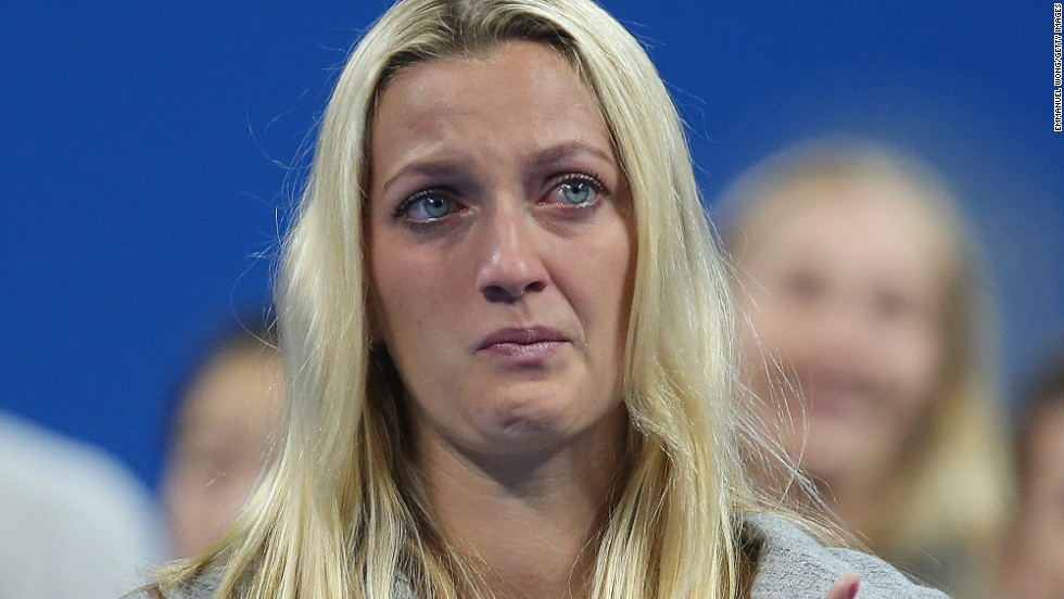 Czech star Petra Kvitova is full of emotion at the ceremony for Li, one of her closest friends on tour.