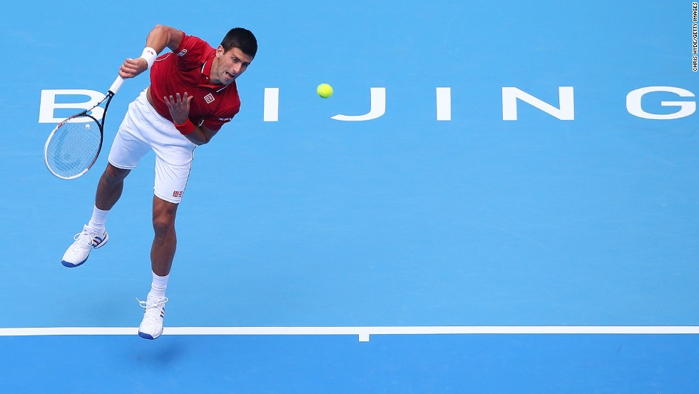 Novak Djokovic took his record in Beijing to 20-0 as he beat Spain's Guillermo Garcia-Lopez in his first match since his surprise U.S. Open semifinal defeat to Kei Nishikori.