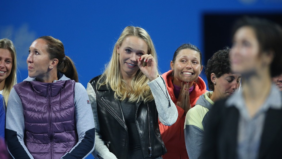 Some 40 WTA players attended the ceremony, including U.S. Open finalist and former world no. 1 Caroline Wozniacki, who was similarly tearful.