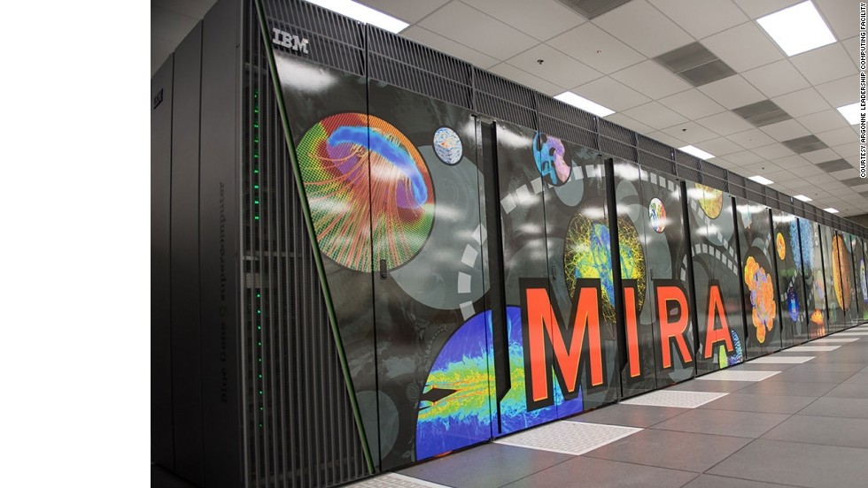 Made up of 48 racks, 786,432 processors, and 768 terabytes of memory, Mira is a 10 petaflop IBM Blue Gene/Q system. It is located at the Argonne Leadership Computing Facility, in Illinois and is number five on the Top500 list.