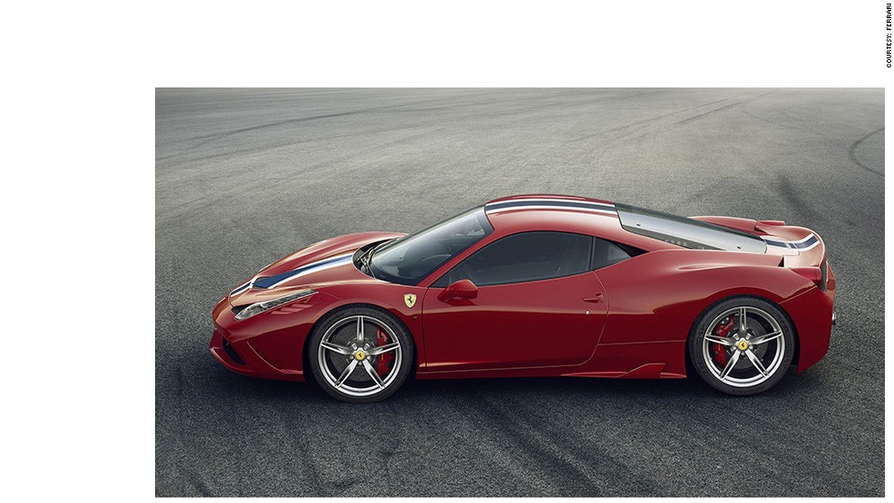 The new Ferrari Speciale A has a powered aluminum convertible top that can open or retract in just 14 seconds.