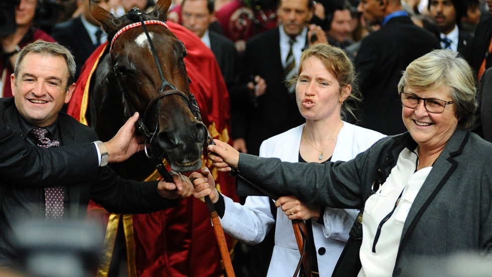 Last year's victory came 34 years after Head-Maarek (far right) trained her first winner in the Longchamp race.