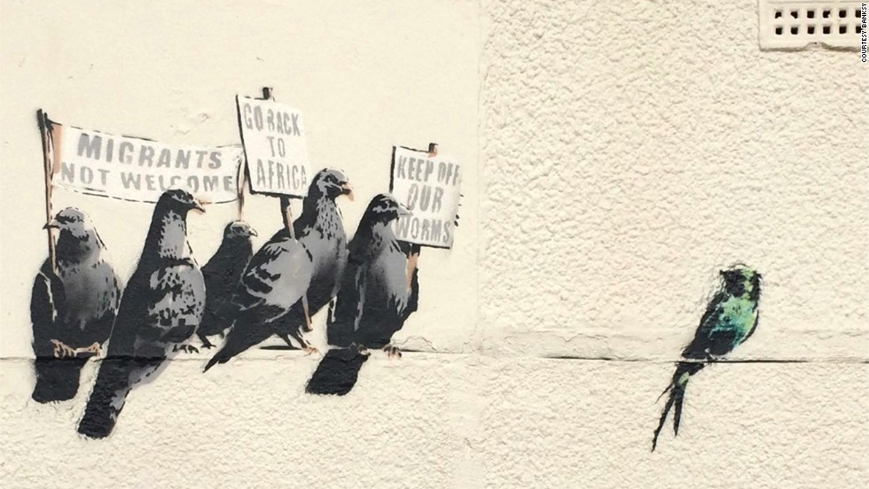 A Banksy mural depicting pigeons holding anti-immigration signs was destroyed by the local council in Clacton-on-Sea, England, in October 2014 after the council received complaints that the artwork was offensive.