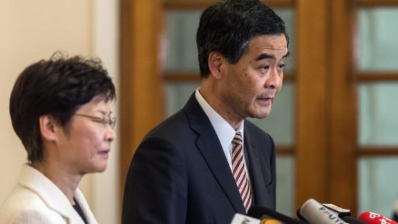 Hong Kong's embattled leader, Chief Executive Leung Chun-ying, speaks at a press conference.