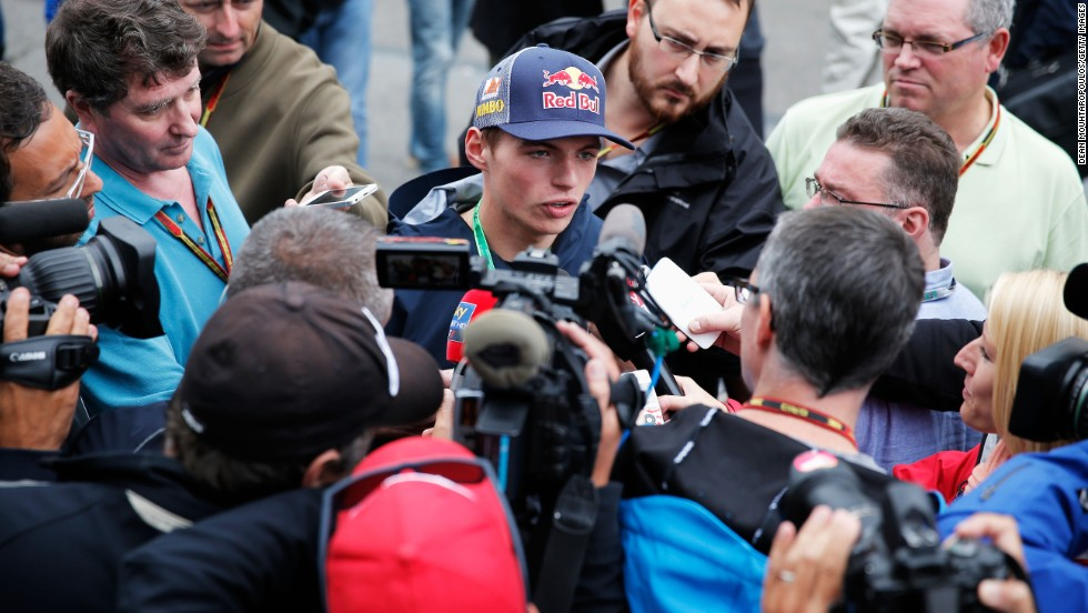 After his historic drive, every reporter wanted a piece of motorsport's teen sensation.