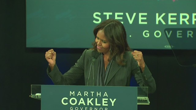 Michelle campaigning on 22nd anniversary