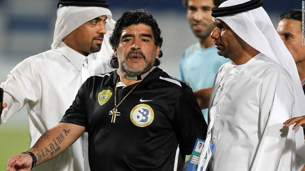 July 2012: Diego Maradona was sacked as manager of United Arab Emirates side Al Wasl after 14 months in charge.