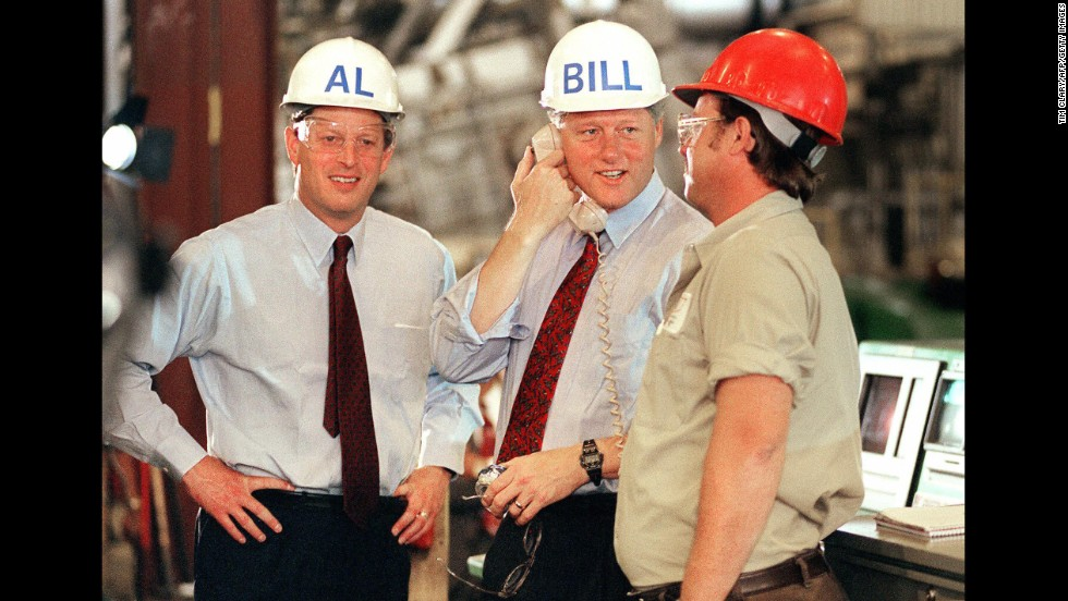 During his 1992 campaign for the presidency, Clinton and his Democratic running mate, Sen. Al Gore, tour a factory in Davenport, Iowa.