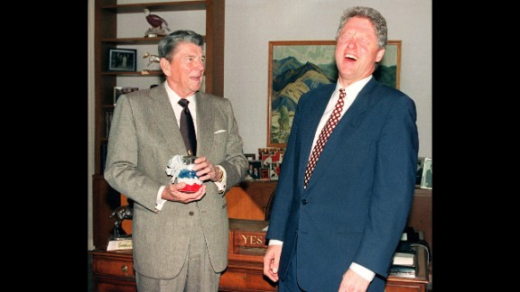 """Ronald Reagan, the 40th president, at left with Bill Clinton, munched on jelly beans to quit smoking and quickly fell in love with the candy, often keeping a stash nearby in the White House, according to the <a href=""""https://reaganlibrary.archives.gov/archives/reference/jellybellies.html"""" target=""""_blank"""" target=""""_blank"""">Ronald Reagan Presidential Library and Museum</a>."""