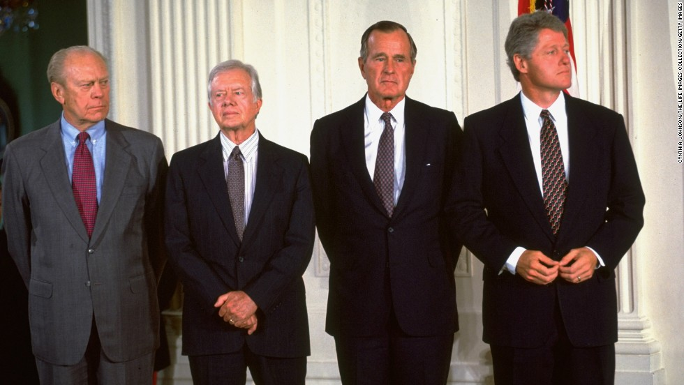 From left, Presidents Gerald Ford, Jimmy Carter, George H.W. Bush and Bill Clinton attend the North American Free Trade Agreement (NAFTA) signing ceremony at the White House on September 14, 1993.