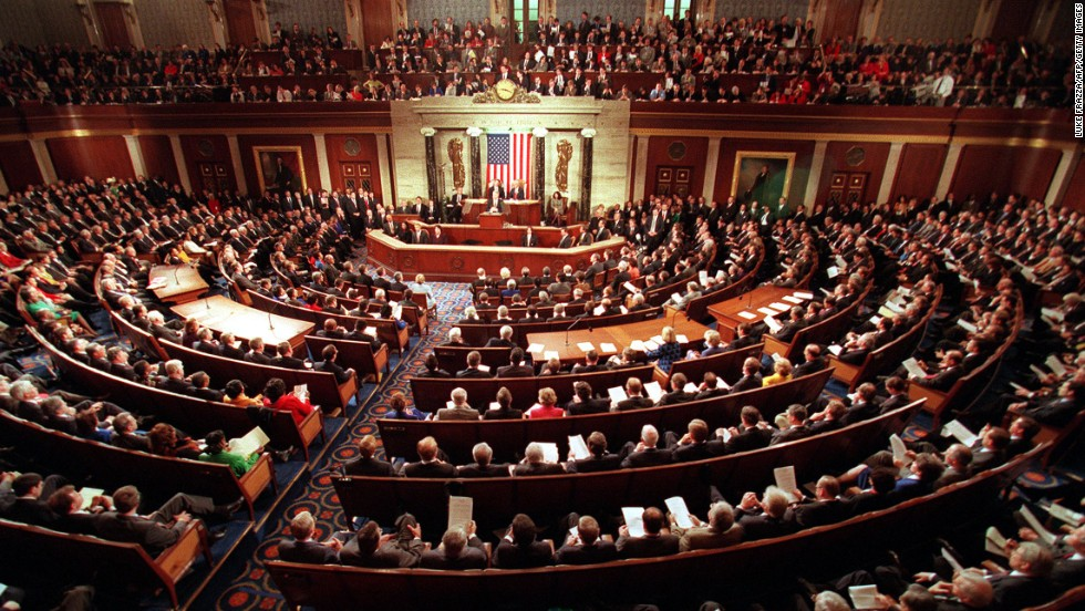 Members of the 105th Congress and guests fill the Senate chamber as President Clinton delivers his State of the Union address on January 27, 1998.