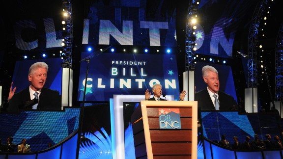 The former President addresses the Democratic National Convention in August 2008.