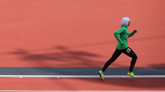 On the right track: Sarah Attar of Saudi Arabia competes as one of only two women from the country at the 2012 London Olympic Games.