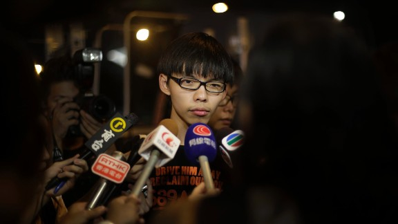 Joshua Wong, a 17-year-old student protest leader, is interviewed at the protest site near government headquarters on Monday, October 6.