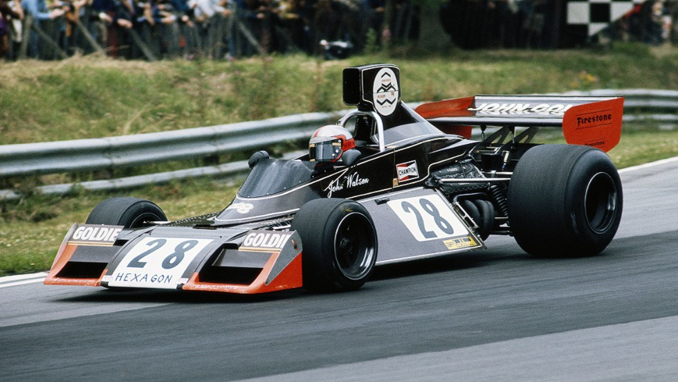 "British racer John Watson, seen here driving a Brabham-Ford in 1974, entered Formula One in an era when serious accidents were ""an occupational hazard."""