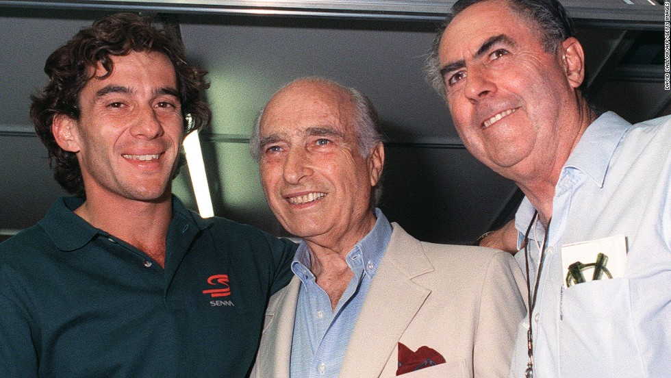 Ayrton Senna (left) seen here with three-time world champion - and David's father - Jack Brabham (right) and five-time champion Juan Manuel Fangio (center) died during the 1994 race at Imola. The Brazilian's death, 20 years ago, was the last fatality in F1.
