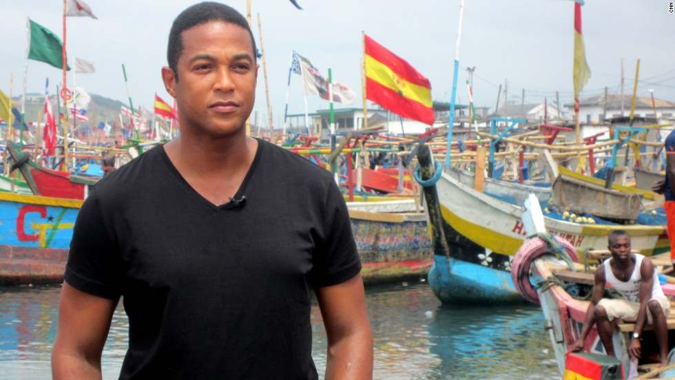 Before leaving Ghana, Lemon takes a quick look over the colorful fishing port.