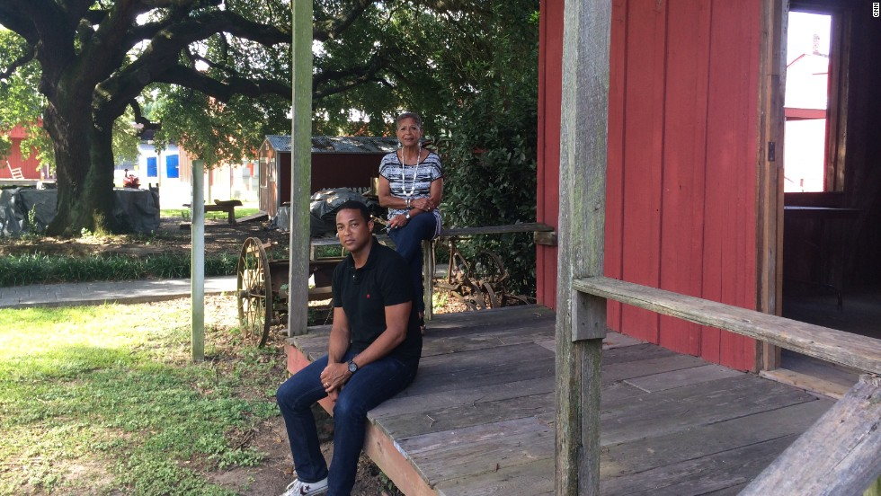 Lemon and his mom visit a former slave cabin at the West Baton Rouge Museum in Louisiana. Lemon's ancestors arrived in Louisiana as slaves in the early 1800s.