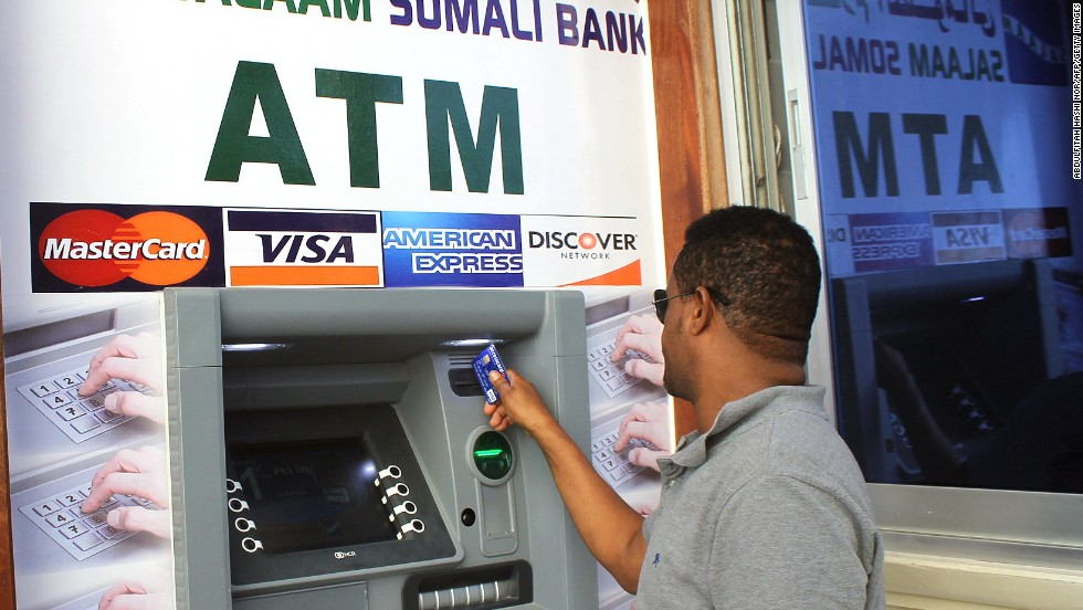 Customers are able to withdraw U.S. dollars rather than the country's official currency the Somali shilling.