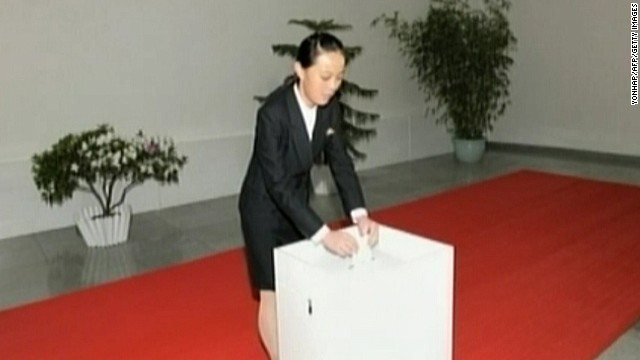 This image dated March 9, 2014 and received on March 10 shows Kim Yo-Jong, the younger sister of North Korean leader Kim Jong-Un, casting her ballot for the election of a deputy to the Supreme People's Assembly at sub-constituency No. 43 of Constituency No. 105 at the Kim Il Sung University of Politics. Kim Yo-Jong, believed to be 26, accompanied her elder brother to a polling station on March 9 when North Korea held stage-managed elections to its rubber stamp parliament.