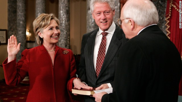 Hillary Clinton is sworn in to the senate on January 4, 2007.