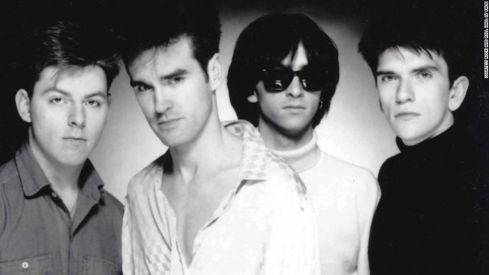 "The Smiths, led by vocalist Morrissey (second from left) and guitarist Johnny Marr (third from left), combined Morrissey's mordant lyrics with Marr's jangly guitar to produce such songs as ""Girlfriend in a Coma"" and ""Shoplifters of the World Unite."""