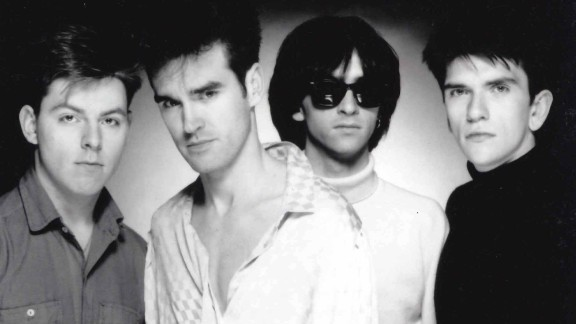 """The Smiths, led by vocalist Morrissey (second from left) and guitarist Johnny Marr (third from left), combined Morrissey's mordant lyrics with Marr's jangly guitar to produce such songs as """"Girlfriend in a Coma"""" and """"Shoplifters of the World Unite."""""""