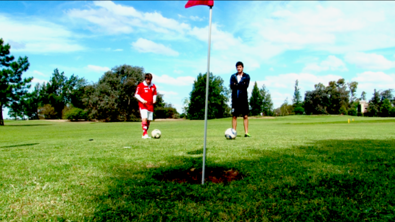 """<a href=""""http://edition.cnn.com/2014/04/28/sport/golf/footgolf/index.html"""">Foot golf </a>combines elements of soccer and golf, with players kicking a football around a golf course complete with bigger holes."""