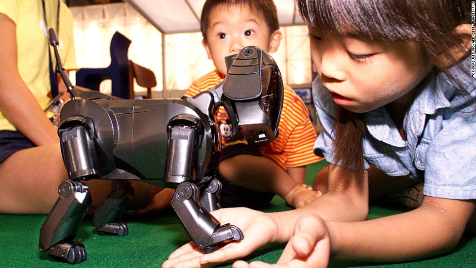 An eight-year-old Japanese girl Moegi Terada plays with Sony's robot dog Aibo, one of the very first commercially available robots inspired by an animal.