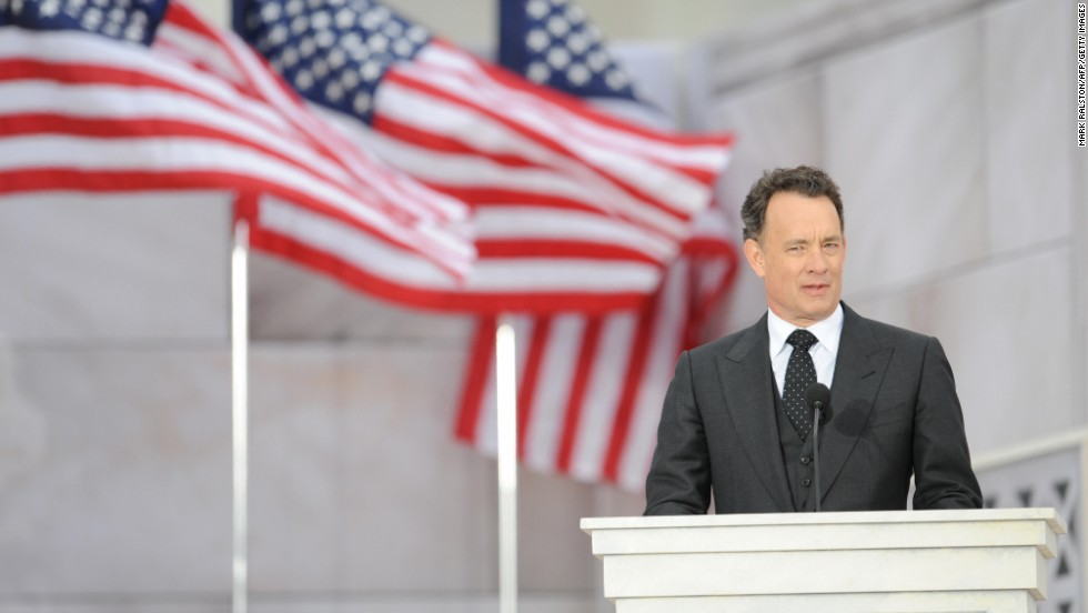 Tom Hanks reads a historical text at the We Are One concert, one of the events of President-elect Barack Obama's inauguration celebrations, at the Lincoln Memorial in Washington, on January 18, 2009.