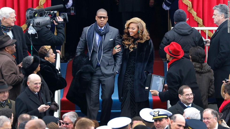 Singer and actress Beyoncé Knowles and her rapper husband Jay-Z hosted an event for Obama's 2012 campaign at Jay-Z's 40/40 Club in Manhattan. The Obamas have referred to the celebrity couple as friends, and Beyoncé was selected to sing the national anthem at Obama's second inauguration.