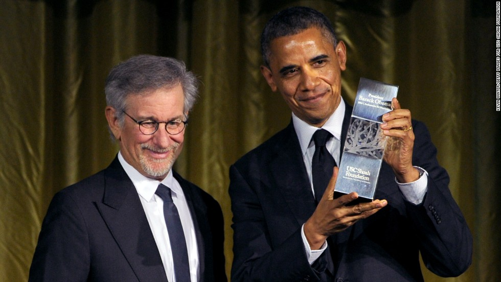 Obama headlined a 2010 fundraiser for congressional Democrats, hosted by Steven Spielberg and Barbra Streisand. In this photo from May of this year, Obama accepts the USC Shoah Foundation's Ambassadors for Humanity Award from Spielberg.