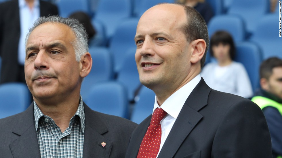AS Roma's American president James Pallotta (L) is Serie A's other foreign owner.