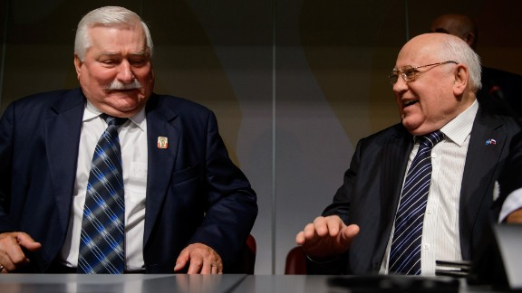 Gorbachev laughs with former Polish president Lech Walesa at the opening of a conference to celebrate the 20th anniversary of Green Cross International in 2013.