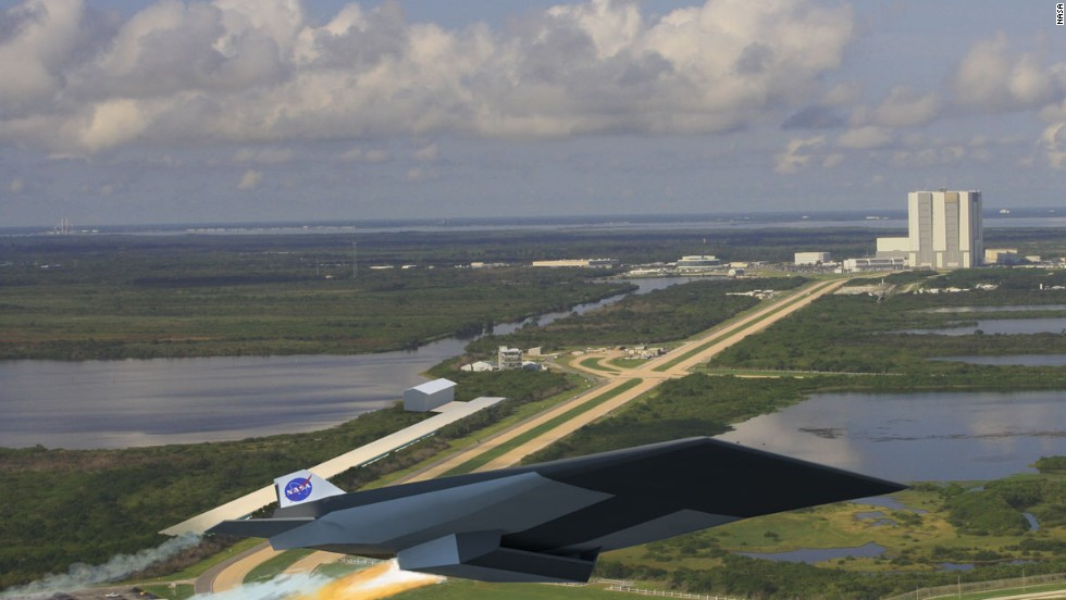An artist's impression shows a potential design for a rail-launched aircraft and spacecraft. Early designs envision a 2-mile-long track at Kennedy Space Center shooting a Mach 10-capable carrier aircraft to the upper reaches of the atmosphere.
