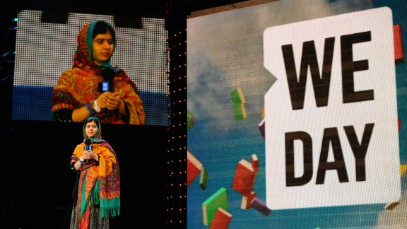 Malala speaks at a youth empowerment event at London's Wembley Arena in March.