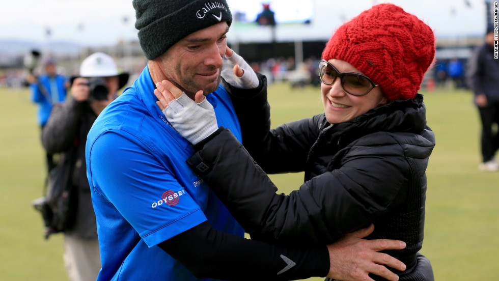 It was a tearful reunion with his wife Lauren, who unbeknown to him had flown up to Scotland to watch him secretly on the final day.