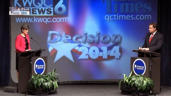 Joni Ernst and Bruce Braley debate Saturday night in Davenport, Iowa.