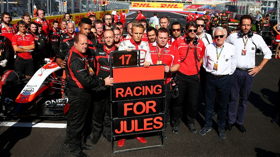 "Marussia staged its own emotional tribute on the grid with sole driver Max Chilton holding a pit board which read ""Racing for Jules."""