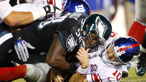 The Philadelphia Eagles beat the New York Giants on Sunday night, but there was action outside the stadium, too.