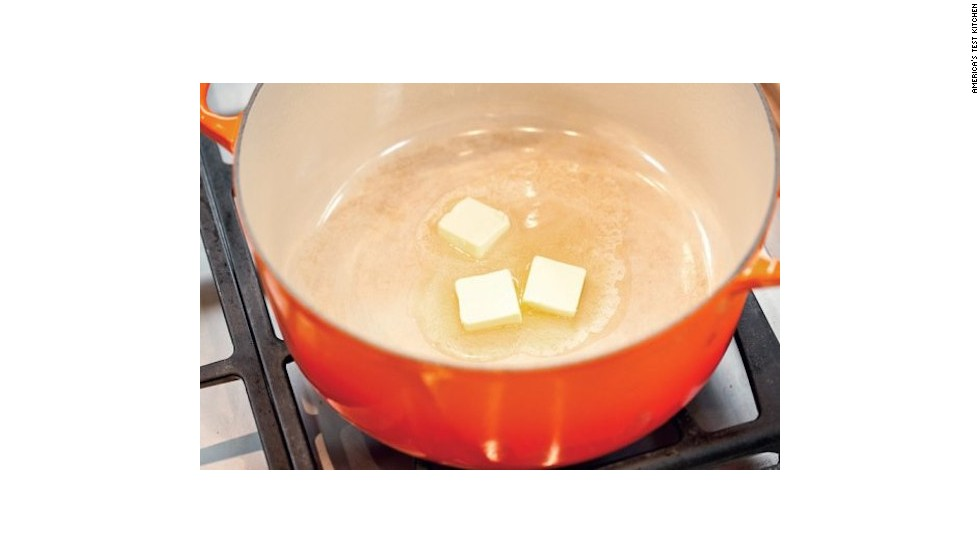 1. Saute the aromatics in butter: Melt 3 tablespoons unsalted butter in a Dutch oven and cook the finely chopped onion and minced carrot and celery until softened.