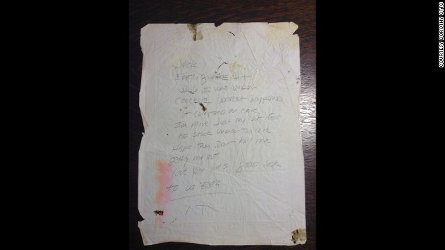 Dorothy Otto has held on to the blood-stained note she wrote while trapped on the Cypress Freeway.